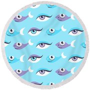 Pattern Of Blue Eyes And Fish In Sea Round Beach Towel