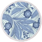 Pattern With Blue Leaves, Flowers Round Beach Towel