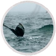 Humpback Flukes And Buoy Round Beach Towel