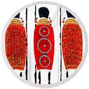 Patterned Masai Triptych Round Beach Towel