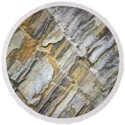Round Beach Towel featuring the photograph Patterns In The Rock by Kerri Farley