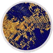 Tree Stump Pattern In Gold And Blue Round Beach Towel by Menega Sabidussi