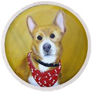 Patti's Grand-dog Round Beach Towel