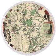 Paul Bunyan's Playground - Northern Minnesota - Vintage Illustrated Map - Cartography Round Beach Towel