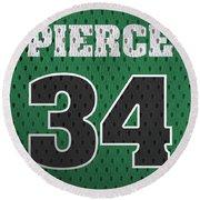 Paul Pierce Boston Celtics Number 34 Retro Vintage Jersey Closeup Graphic Design Round Beach Towel