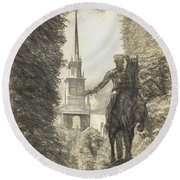 Paul Revere Rides Sketch Round Beach Towel