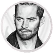 Paul Walker Pop Art Poster Round Beach Towel