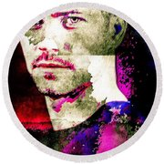 Round Beach Towel featuring the mixed media Paul Walker by Svelby Art