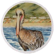 Round Beach Towel featuring the painting Paula's Pelican by Katherine Young-Beck