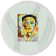 Pauls Portrait Round Beach Towel by Elaine Lanoue