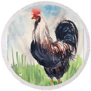 Paunchy Rooster Round Beach Towel