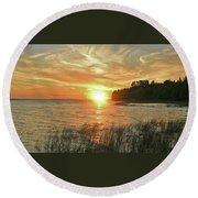 Pavillion View Of The Sunset Sky Round Beach Towel