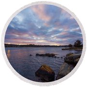 Pawcatuck River Sunrise Round Beach Towel