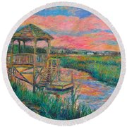 Pawleys Island Atmosphere Stage Two Round Beach Towel