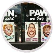 Pawn Shop Humor Round Beach Towel by Allen Beatty