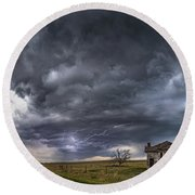 Round Beach Towel featuring the photograph Pawnee School Storm by Darren White