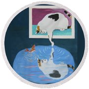 Round Beach Towel featuring the painting Paws And Effect by Phyllis Kaltenbach