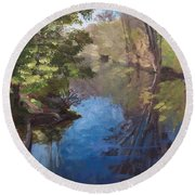 Pawtucket Canal Round Beach Towel