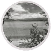 Payette Lake Boarder Round Beach Towel
