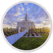 Payson Temple I Round Beach Towel by Chad Dutson