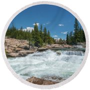 Round Beach Towel featuring the photograph Pct Crossing by Sharon Seaward
