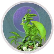 Pea Pod Dragon Round Beach Towel by Stanley Morrison