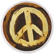 Peace 2 Round Beach Towel by Rabi Khan