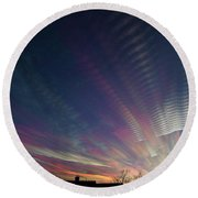 Round Beach Towel featuring the photograph Peace After The Fire by Karen Slagle