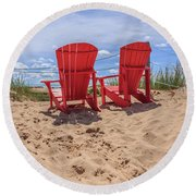 Peace Among The Dunes Round Beach Towel