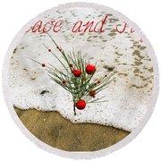 Peace And Joy Round Beach Towel