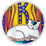Peace And Love - Cat Art By Dora Hathazi Mendes Round Beach Towel