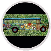 Round Beach Towel featuring the painting Peace And Love Hippie Bus by Jim Harris