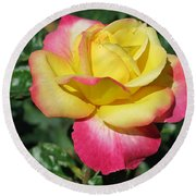 Peace And Love Rose Round Beach Towel