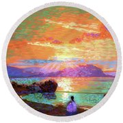 Peace Be Still Meditation Round Beach Towel