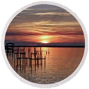 Peace Be With You Sunset Round Beach Towel