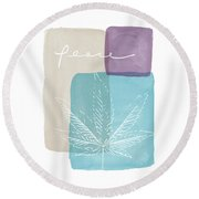 Peace Cannabis Leaf Watercolor- Art By Linda Woods Round Beach Towel by Linda Woods