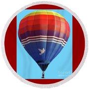 Peace Dove Hot Air Balloon Round Beach Towel
