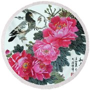 Round Beach Towel featuring the photograph Peace Flowers by Yufeng Wang