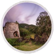 Round Beach Towel featuring the photograph Peace Hill Ruins by Adam Romanowicz