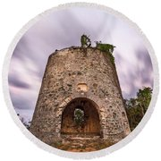 Round Beach Towel featuring the photograph Peace Hill Sugar Mill by Adam Romanowicz