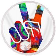 Peace Hippy Paint Hand Sign Round Beach Towel