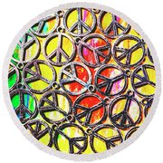 Peace In All Colours Round Beach Towel