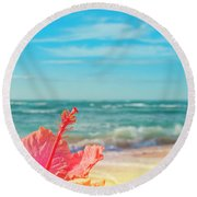 Round Beach Towel featuring the photograph Peace Love And Aloha by Sharon Mau