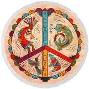 Peace Love And Harmony Round Beach Towel by Susie WEBER