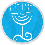 Peace Love And Miracles With Menorah Round Beach Towel