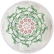 Peace Love Joy Wreath- Art By Linda Woods Round Beach Towel