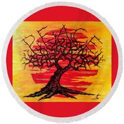 Round Beach Towel featuring the drawing Peace Love Tree by Aaron Bombalicki