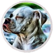 Round Beach Towel featuring the digital art Peace Of Mind by Kathy Tarochione