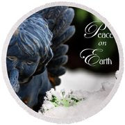 Round Beach Towel featuring the photograph Peace On Earth Angel by Shelley Neff