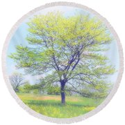 Peace On The Hillside Round Beach Towel
